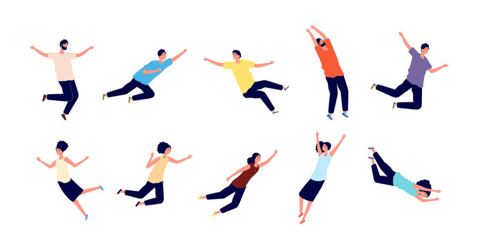 Flying people. Falling woman man. Dreams of persons, fly in air space. Floating pose, imagination and creativity character flight vector set. Falling and soar, fly in air cartoon, people illustration