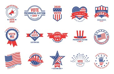 Election badges. Political campaign, usa presidential day vote. American flag patriotic voter stickers. Voting for president vector banners. Usa political vote, election american illustration