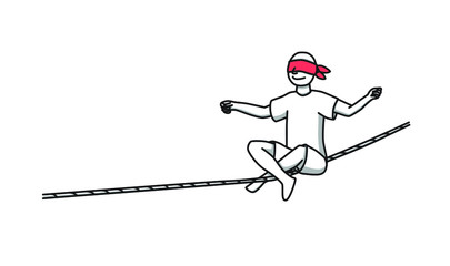 With the eyes closed on the rope, a muslin on his face balances a red bandage sitting in a lotus position.
