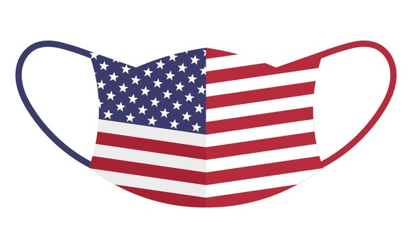 Protection face mask with american flag motif isolated over white background
