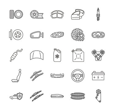 Auto parts for car service line icon set. Vector illustrations to indicate product categories in the online auto parts store. Car repair. Brake pad, wheel, tire, wiper blade, spark plug, brake rotor