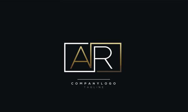 AR RA A R alphabet abstract initial letter logo design vector template
