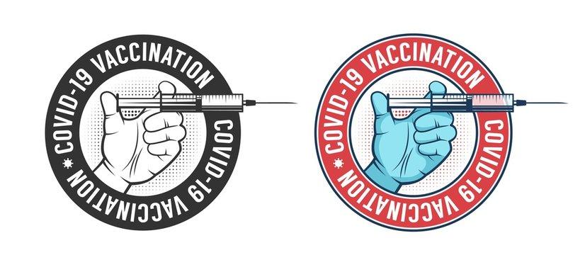 Vaccination vintage logo. Hand with syringe retro emblem. Vector illustration.