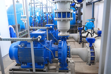 high-pressure pumps engines and pipes, water or wastewater treatment facilities inside or indoors, industrial interior