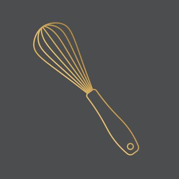 golden kitchen whisk, icon- vector illustration