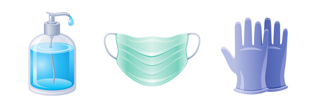 Corona virus Covid 19 icon set. Coronavirus prevention and medical elements collection. Soap bottle, respirator mask, medical surgical gloves icons. Vector illustration isolated on white background.