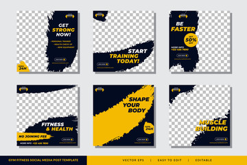 Gym Fitness social media post design template Premium Vector