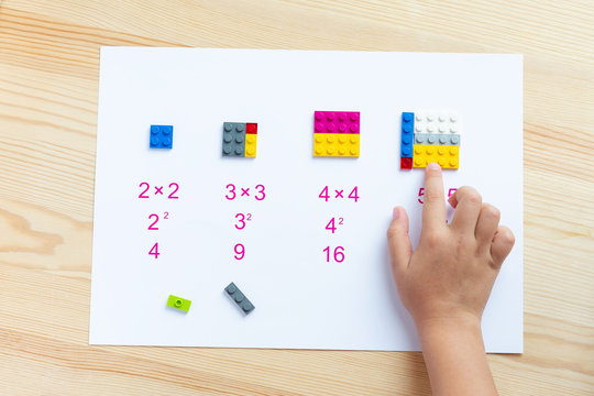 A game for children to learn mathematics. Match the blocks to the account. The child decides the examples, puts the plastic block in the right place. Game for childrenю