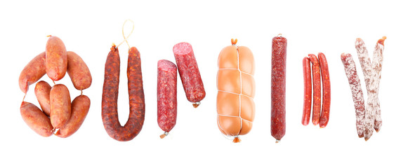 Set with different tasty sausages on white background, top view. Banner design Fotomurales