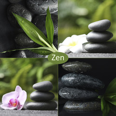 Photo sur Toile Zen pierres a sable Collage with photos of stones and plants. Zen and harmony