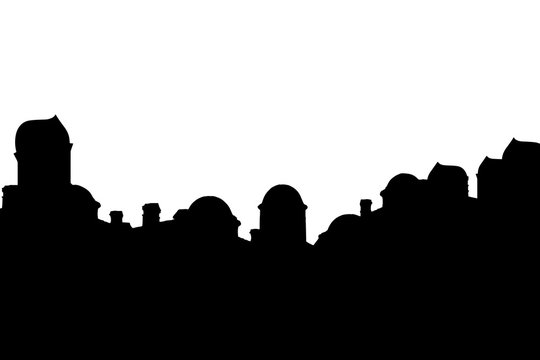 Bethlehem. Town silhouettes in Byzantine style on white background