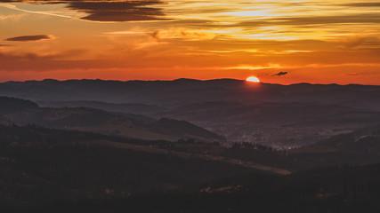 Zachód słońca w Koniakowie (Beskid Śląski)