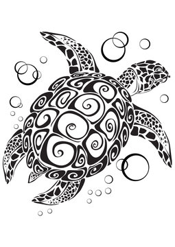 stylized sea turtle in black on a white background, vector illustration,