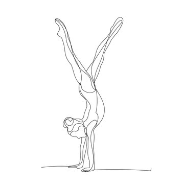 vector, isolated, drawing, one line girl gymnastics, stretching, sketch