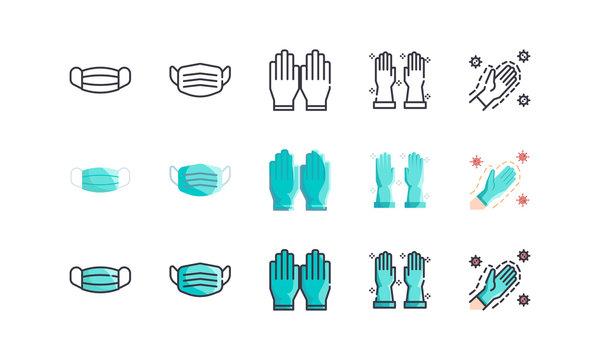Surgical Mask And Medical Gloves. Covid-19, Coronavirus Disease 2019 Prevention. Line Outline, Flat, Filled Icons Set. Editable Stroke. Vector illustration EPS 10.