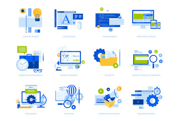 Wall Mural - Flat design concept icons collection. Vector illustrations for graphic and web design and development, app development, seo, digital marketing and market research.