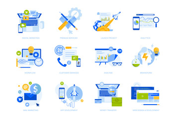 Wall Mural - Flat design concept icons collection. Vector illustrations for business, startup, marketing, web and app design and development, e-banking and customer support. Icons for graphic and web designs.