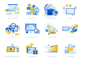 Wall Mural - Flat design icons collection. Vector illustrations for project management, mobile apps and services, social network, cloud services, e-commerce, internet security, e-banking, SEO, digital marketing.