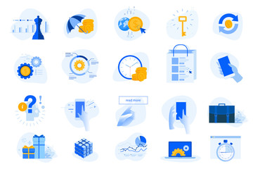 Wall Mural - Flat design concept icons collection. Vector illustrations for business, finance, banking, insurance, strategy and analysis, investment, e-commerce, seo, time management, smartphone using.