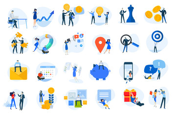 Wall Mural - Flat design icons collection. Vector illustrations for business, finance, digital marketing, social network, shopping and online communication. Icons for graphic and web designs, marketing material.