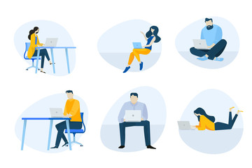 Wall Mural - Flat design icons collection. Vector illustrations of people using a laptop for work, communication and entertainment. Icons for graphic and web designs, marketing material and business presentation.
