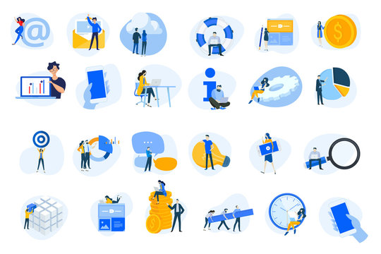 Flat design concept icons collection. Vector illustrations for internet services, cloud computing, content management, web development, business, video streaming, teamwork, finance, mobile using.