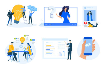Wall Mural - Flat design concept icons collection. Vector illustrations of project management, business presentation, social media, video tutorial, distance education, star rating, mobile app maintenance.