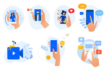 Wall Mural - Flat design icons collection. Vector illustrations of social media and networking, digital communication, mobile apps. Icons for graphic and web designs, marketing material and business presentation.