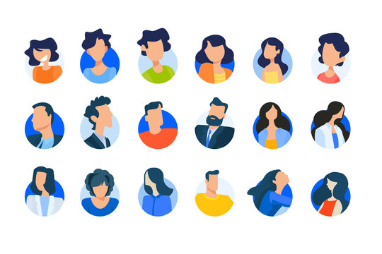 Flat design concept icons collection. Vector illustrations of modern people avatars. Icons for graphic and web designs, marketing material and business presentations, social media, user account.