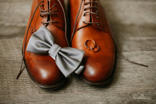 wedding shoes on a wooden background