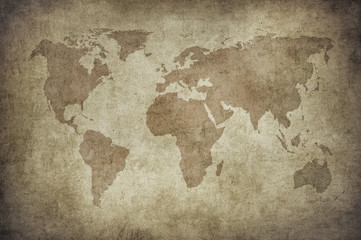 Tuinposter Noord Europa grunge map of the world