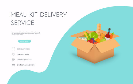 Meal-kit delivery service. Online ordering of food, grocery delivery, e-commerce. Flat design modern vector illustration concept.