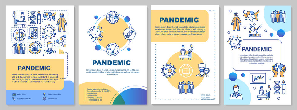 Pandemic brochure template. Coronavirus epidemic. Infection spreading. Flyer, booklet, leaflet print, cover design with linear icons. Vector layouts for magazines, annual reports, advertising posters