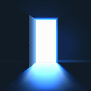 Open Door in dark room symbol of hope solution or opportunity. Light in room through open door. Vector illustration