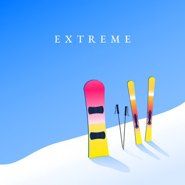 Ski resort. Skiing and snowboard on hillside. Extreme tourism banner. Vector