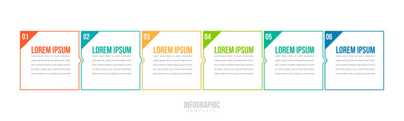 Minimal Business Infographics template. Timeline with 6 steps, options and marketing icons .Vector linear infographic with six conected elements. Can be use for presentation.
