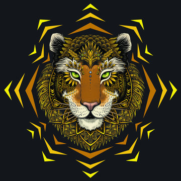 Vector Abstract Tiger Face Illustration