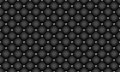 Papiers peints Cuir Black luxury seamless pattern. Elegant leather texture with diamond decoration.
