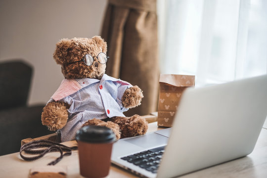 Work from home concept. A cute fluffy teddy bear plush doll wearing glasses in working concept.