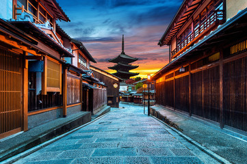 Door stickers Kyoto Yasaka Pagoda and Sannen Zaka Street in Kyoto, Japan.