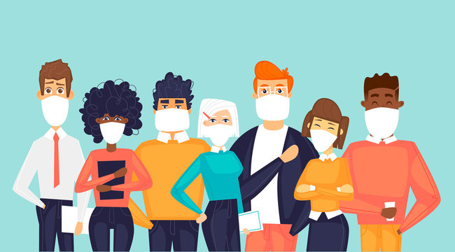 Masked people. Virus. Flat design vector illustration.