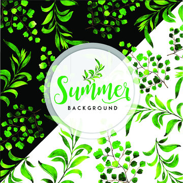 Watercolor Summer Leaves With Black and White Background