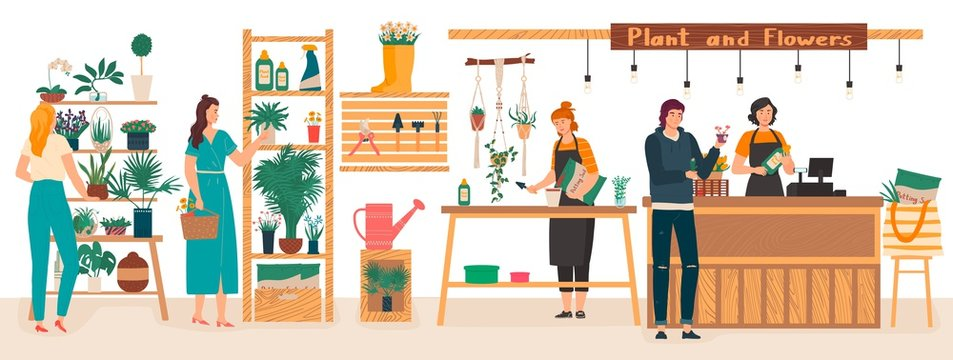Flowers and plants florist shop interior with florists care for houseplants, woman buys flowers cartoon vector illustration. Floral gifts shop and plants store for home garden green decoration.