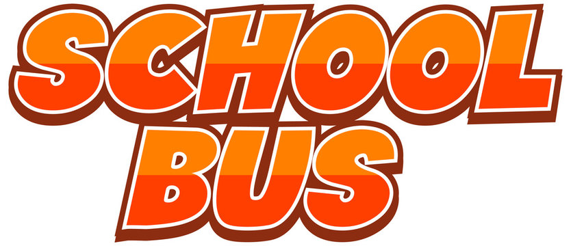 Font design for word school bus on white background