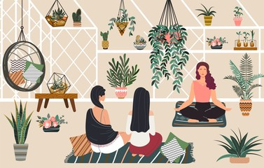 People relax yoga and meditation in greenhouse hygge home, women siiting in scandinavian style room with green plants relaxing flat vector illustration. Relaxation in greenery home garden.