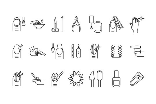 Nail Manicure Sign Black Thin Line Icon Set. Vector