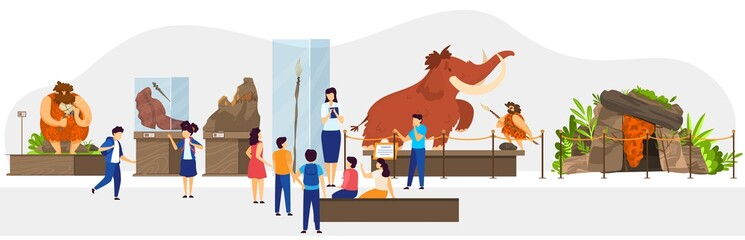 School class in natural history museum, primitive people stone age exhibition, vector illustration. Teacher guide children, historic lesson of human society evolution. Caveman hunting mammoth, cartoon Fotomurales
