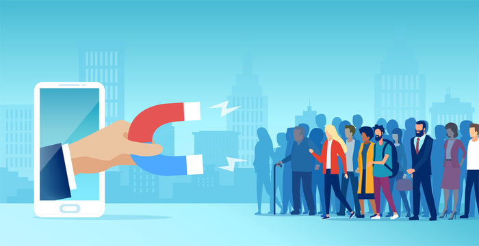 Vector of a diverse group of people being attracted by hand holding magnet into social media
