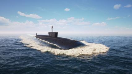 Heavy atomic submarine floating in ocean
