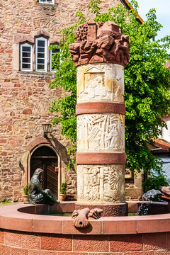 Fairytale Fountain and Town Hall in Steinau an der Strasse, birthplace of the Brothers Grimm, Germany